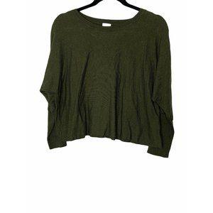CAbi Green Cotton Blend Pullover Crop Sweater L